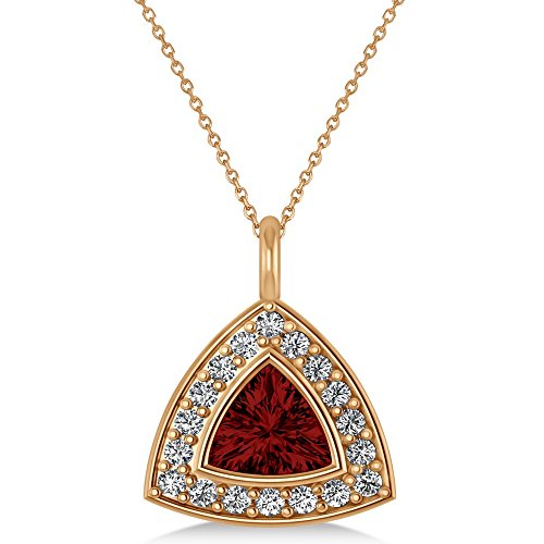 Garnet Necklace Trillion ((1.86ct) 14k Rose Gold Garnet Trillion Triangular Cut Halo Pendant Necklace)
