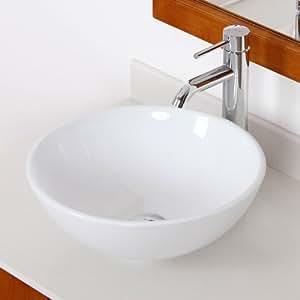elite bathroom bowl white ceramic porcelain vessel sink chrome faucet combo vessel sink and