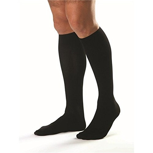 JOBST forMen Ambition Knee High 15-20 mmHg Ribbed Dress Compression Socks, Closed Toe, 4 Regular, Black ()