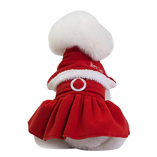 Christmas Pet Dress Puppy Dog Cat Winter Warm Coat Costume Princess Decoration Apparel (S, Red)