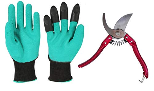 Garden Pruning Shears - Heavy Duty Garden Clippers Plus Garden Gloves (Green)- Non-Slip/Anti-rust/Sharp Blades- Great Gift