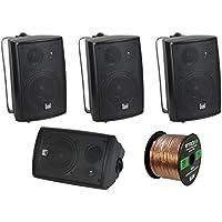 4 x New Pyle PLMR24 3.5 200 Watt 3-Way Weather Proof Marine Mini Box Speaker System (Black), and Enrock Audio 16-Gauge 50 Foot Speaker Wire