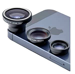 Newstylee Magnetic Detachable Fish-eye Lens Wide Angle Micro Lens 3-in-1 Kits Black for Iphone 5 5c 5s 4s 4 Ipad Mini Ipad 4 3 2 Samsung Galaxy S4 S3 S2 Note 3 2 1 Sony Xperia L36h L36i Htc One Smartphones with Flat Camera