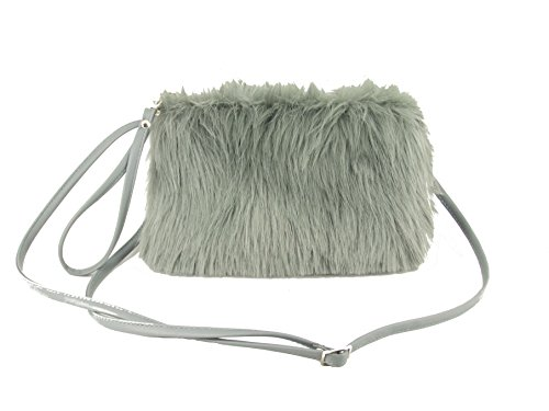 LONI Faux Clutch Crossbody Grey Bag Fur Shoulder Dainty xvAxS
