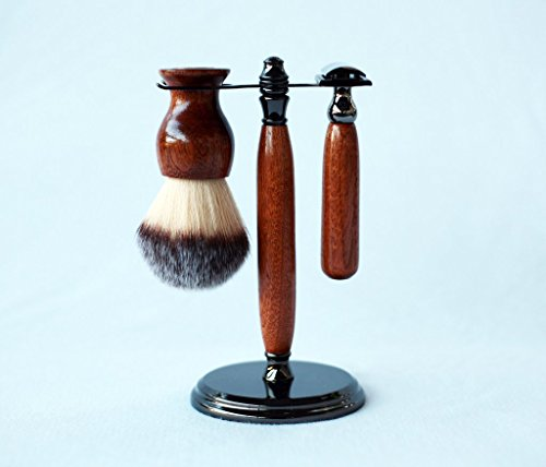 Mahogany Shave Set In Gunmetal, safety razor, shave brush and matching brush and razor stand. by CreationsByWill