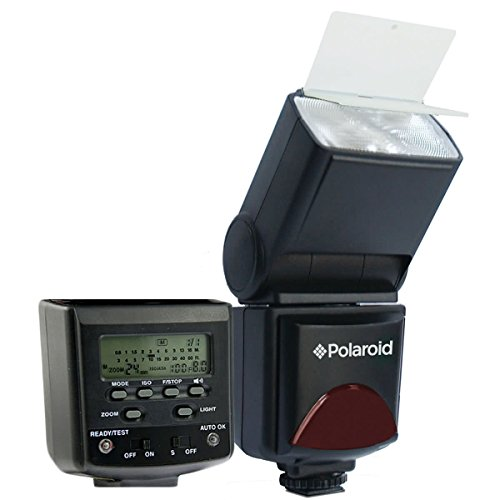 Polaroid PL-144AZ Studio Series Digital Power Zoom TTL Shoe Mount AF Flash With LCD Display For The Sony Alpha NEX-6, NEX-7, SLT-A33, SLT-A35, SLT-A37, SLT-A55, SLT-A57, SLT-A58, SLT-A65, SLT-A77, SLT-A99, A100, A200, A230, A290, A300, A330, A350, A380, A by Polaroid