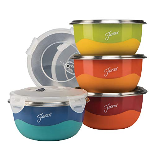 Fiesta 9378S8FBR 8-Piece Microwave Safe Prep Bowl Set.75 Qt,