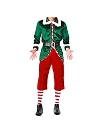 Mitef Christmas Adult Costume, Couple Green Xmas Elf Outfit for Women and Men