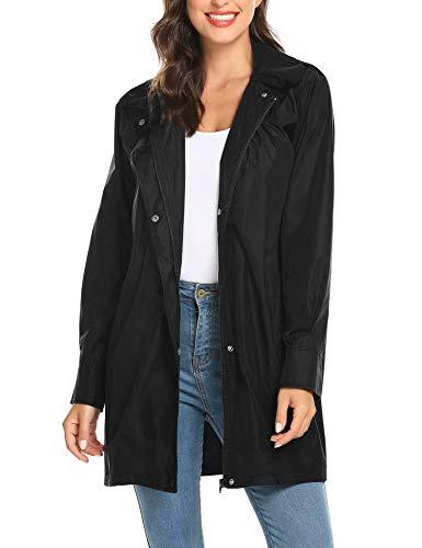 LOMON Outdoor Coats for Women Lightweight Long Rain Jacket Outdoor Wear Hiking Packable Black XXL