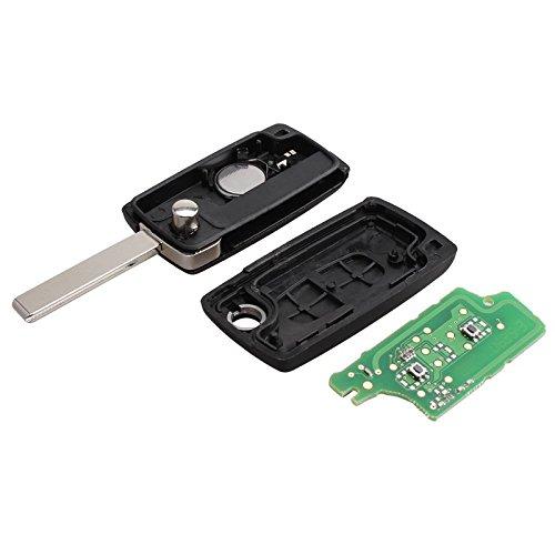 SODIAL 2 Tasten Fernbedienung Klapp Autoschluessel Fuer Peugeot 307 3008 308 408 433 MHz PCF7961 ID46 CE0536 Flip Key FOB
