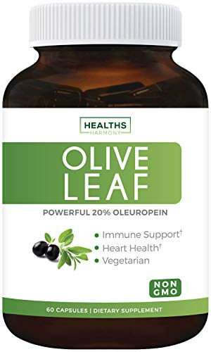 Olive Leaf Extract (Non-GMO) Super Strength: 20% Oleuropein - 750mg - Vegetarian - Immune Support, Cardiovascular Health & Antioxidant Supplement - No Oil - 60 Capsules ()