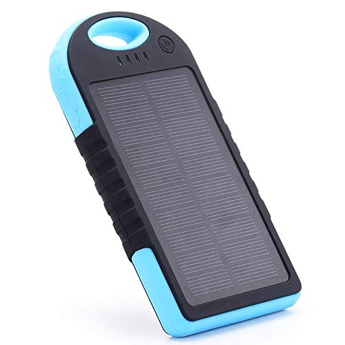 Portable Power Bank, Waterproof Solar Charger 12000 mAh with Dual USB Ports & Flashlight Battery Pack for All Mobile Phones (Blue) from EFOSHM