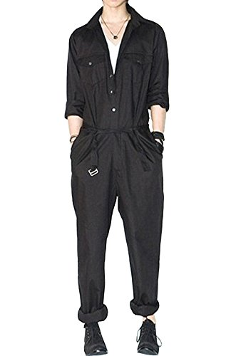 e31f1950dc88 AITFINEISM Mens Romper Coveralls One-Piece Long Sleeve Jumpsuit Casual  Overalls (Medium