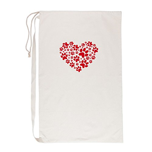 Laun Basket - CafePress Red Heart With Paws, Animal Foodprint Pattern Laun - Laundry Bag, 23