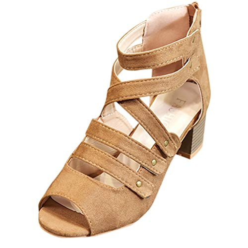 OrchidAmor Fashion Women Ladies Zipper Sandals Ankle Square Heel Breathable Peep Toe Shoes Brown ()