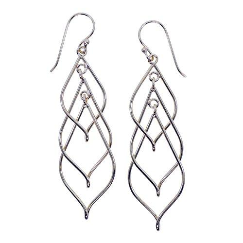 Rhodium Plated Linear Triple Swirl Earrings Triple Swirl Earrings
