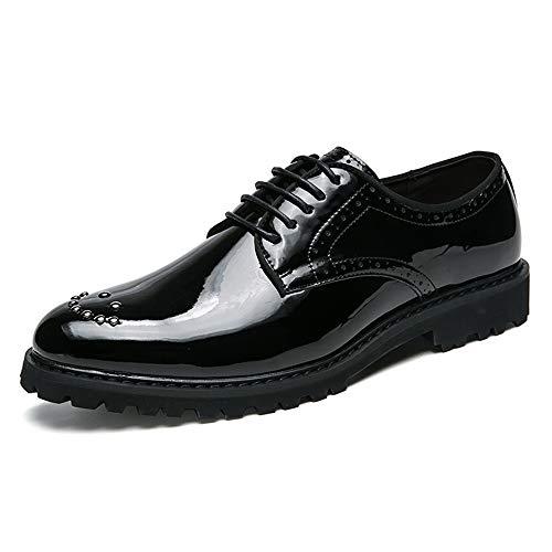 Noir 38 EU CHENDX Chaussures, Classique Confortable Homme Décontracté Oxford Décontracté Paillette Décoration Chaussures en Cuir Pattent (Couleur   Noir, Taille   38 EU)
