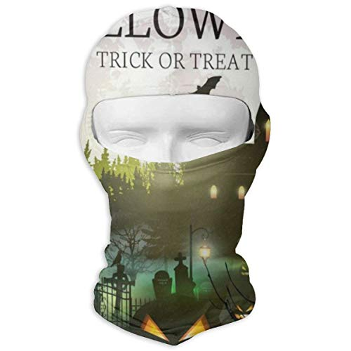 Balaclava Vintage Happy Halloween Full Moon Castle Boo Full Face Masks UV Protection Ski Hat Mask Motorcycle Neck Warmer Hood for Cycling Snowboard Women Men Youth -