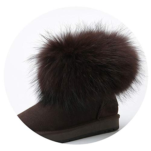 Price comparison product image Cow Suede Leather Real Big Fox Fur Short Ankle Snow Boots for Women, Chocolate, 8, Russian Federation
