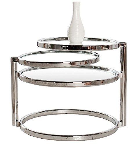 CRAVOG Beistelltisch Glas Chrom Rund Plate 3 Beweglich Couchtisch Design Art Deco-Stil