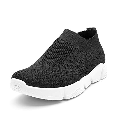 Scurtain Slip On Walking Sock Shoes for Women Lightweight Mesh Work Sneakers Black 9 M US