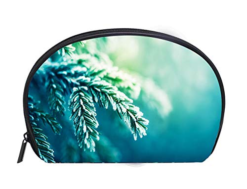 (Half-moon Cosmetic Bag frost covered spruce tree branch Ladies Travel Convenience Small Wash Bag Storage Bag)