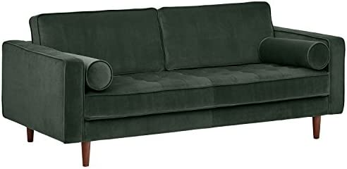 Marvelous Rivet Aiden Tufted Mid Century Modern Velvet Bench Loveseat Sofa 74W Hunter Green Ocoug Best Dining Table And Chair Ideas Images Ocougorg