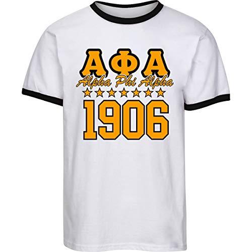 - Fashion Greek Alpha Phi Alpha 7 Stars 1906 Ringer T Shirt White/Gold Medium