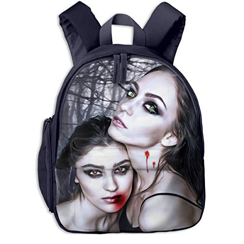 gewespe Halloween Vampire Fantasy Girl Blood Gothic Goth Children School Bag Book Backpack Outdoor Travel Pocket Double Zipper