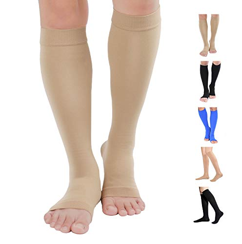 TOFLY Knee High Compression Stockings, Open-Toe, Firm Support 15-20mmHg Opaque Maternity Pregnancy Compression Socks, Ankle & Arch Support, Swelling, Varicose Veins, Edema Beige L