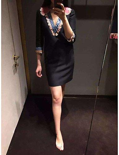 PU&PU Robe Aux femmes Gaine Mignon,Imprimé Col en V Mini Polyester , black-s , black-s