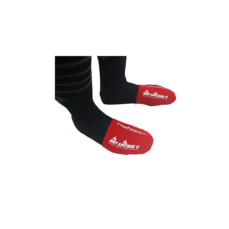 Hot Sockee Trax Factory 1.5mm Thermal neoprene toe warmer goes inside your shoe or boot. Three sizes for cycling, hiking or any winter sports work boots