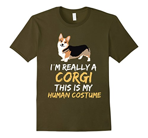 Mens This Is My Humans Costume I'm a Corgi Halloween t-shirt XL Olive