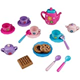 Tea Set Party Pretend Play Kitchen Playset Cups Kettle Flowers Theme Accessories Gift for Kids Toddler Girls Boys 22pcs Age 3+