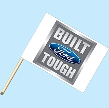 """""""Built Ford Tough Logo"""" - NEOPlex 30"""" x 42"""" Car Lot Flag Mounted on 4' Wooden Staff/Pole"""