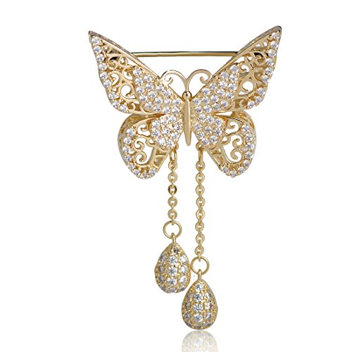 MECHOSEN Cubic Zirconia Butterfly Brooch for Women Gold Color What Drop Tassel Classic Wedding Decoration Animal Corsage Pins