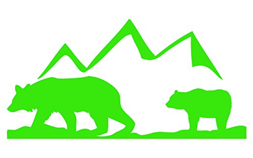 Auto Vynamics - ANIPAIRS-BEARS-5-GLGRN - Gloss Lime Green Vinyl Animal Family Pair Scene Decal - Bears w/ Mountain Design - 5-by-2.5-inches - (1) Piece Kit - Single Decal