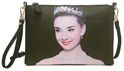 Big Handbag Shop Womens Faux Leather Extra Large Clutch Evening Bag (Black - Audrey Hepburn (11)