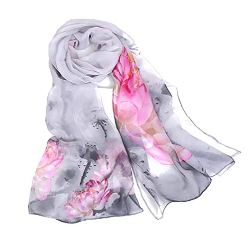 Scarfs for Women Lightweight Print Floral Pattern Scarf Shawl Fashion Scarves Sunscreen Shawls (Ink Lotus&Gray)