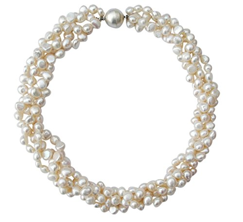 White Baroque Cultured Pearl Four Strand Chunky Necklace with Round Silver Magnetic - Pearl Necklace Silver Baroque Clasp