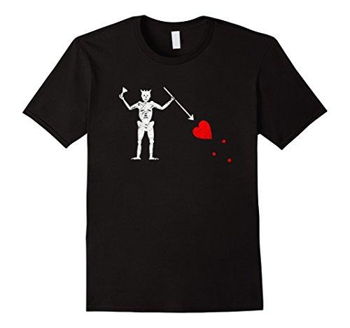 (Mens Jolly Roger Pirate Flag Skull & Crossbone Blackbeard T-Shirt Medium Black)