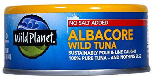 Wild Planet Wild Albacore Tuna, No Salt Added, Keto and Paleo, 3rd Party Mercury Tested, 5 Ounce (Pack of 12) ()