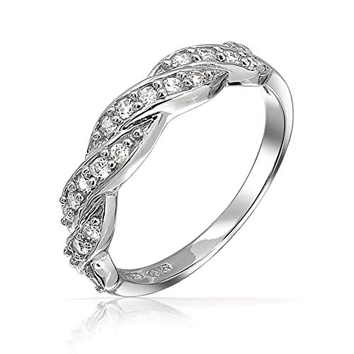 (Micro Pave Cubic Zirconia AAA CZ Stackable Twisted Braid Infinity Anniversary Wedding Band Ring 925 Sterling Silver 3MM)