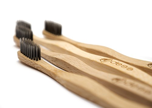 Bamboo Charcoal Toothbrush Soft Bristles for Adults | Eco-Friendly Biodegradable Vegan Tooth Brush Set | BPA-Free Infused Nylon | Natural Wood Travel Toothbrushes | Zero Waste Recyclable Paper 4 Pack
