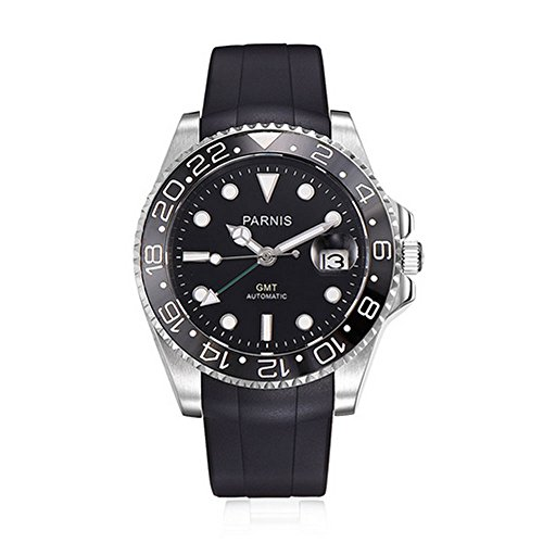 Sapphire Glass Parnis 40mm Black Dial Green GMT Pointer Ceramic Bezel Automatic Movement Men