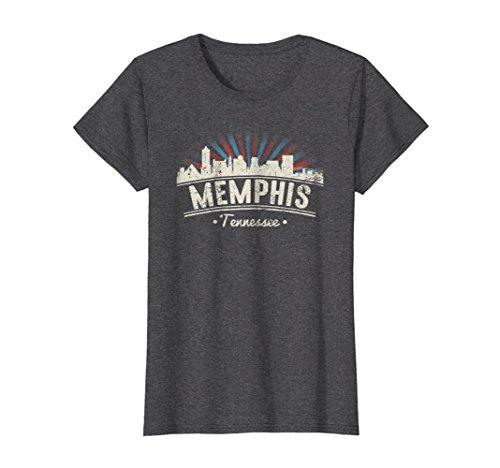 Womens Memphis Tennessee T-shirt - Distressed Retro City Sky Line Medium Dark Heather Tennessee Tn T-shirt