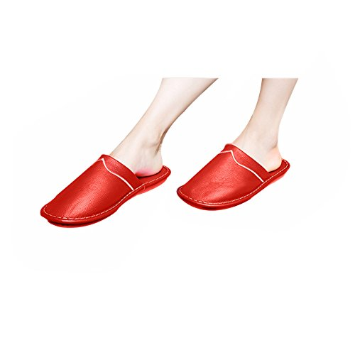 Tellw Primavera Autunno Inverno Pantofole In Pelle Per Il Tempo Libero Pantofole Antiscivolo Suole Scarpe Pantofole Di Pelle Di Mucca Per Le Donne Rosse