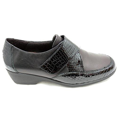 con Tacón Zapatos 91715 Licra Piel de Doctor Plantilla y Cutillas Adaptables Negro Clásicos Ancho Velcro Extraible y zSw6FExqp