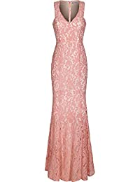 4f6d607034 Women s Cap Sleeve Plunge Neck Lace Formal Evening Party Dress