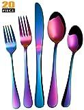 Rainbow Silverware - Stainless Steel Colorful Flatware Set, Bright Multicolored Titanium Cutlery Set Tableware, 20 Pieces Serve 4, Multicolor